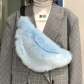 bag,tumblr,blue,fur,fanny pack,bum bag