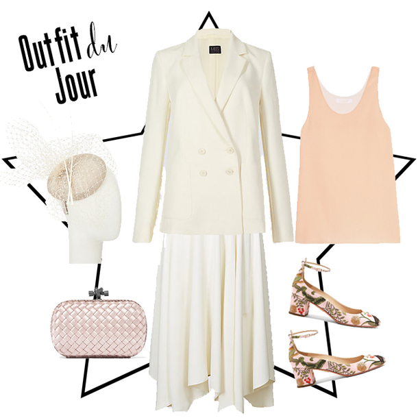 fashion foie gras blogger skirt top shoes bag tank top blazer white blazer mid heel pumps clutch spring outfits white skirt