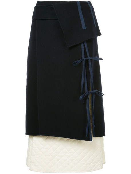 skirt women quilted blue wool