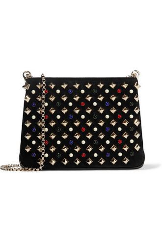 embellished bag shoulder bag leather suede black