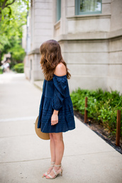 sequins and stripes,blogger,dress,shoes,sunglasses,off the shoulder,blue dress,denim dress,mini dress,nude heels