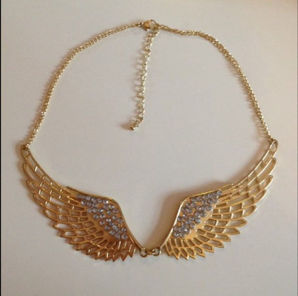 jewels wing angel angel wings necklace acsessories gold sequins style blouse fashion