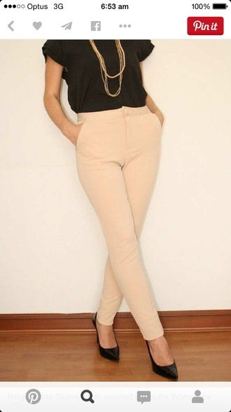 pants beige high-waisted