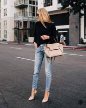 sweater,black sweater,knitted sweater,jeans,ripped jeans,pumps,high heel pumps,handbag,sunglasses
