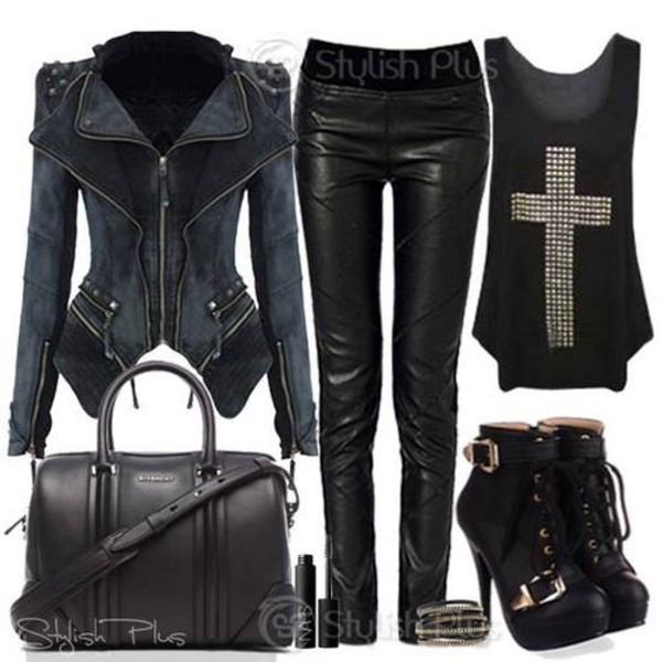 jacket black leather jacket shoes blouse
