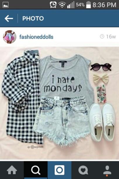 shorts shirt sunglasses