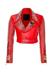 jacket,philipp plein,36683,red studded jacket,philipp plein jacket,parrots jacket,aloha jacket,plein jacket