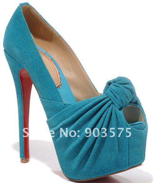 Free Shipping Platform High heeled Sexy lady Pumps BowTie Genuine Leather 160mm Red Sole Brand Name Mint Red Nude Black Rose-in Pumps from Shoes on Aliexpress.com