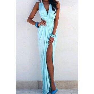 dress maxi dress pastel summer dress outfit sexy dress blue dress