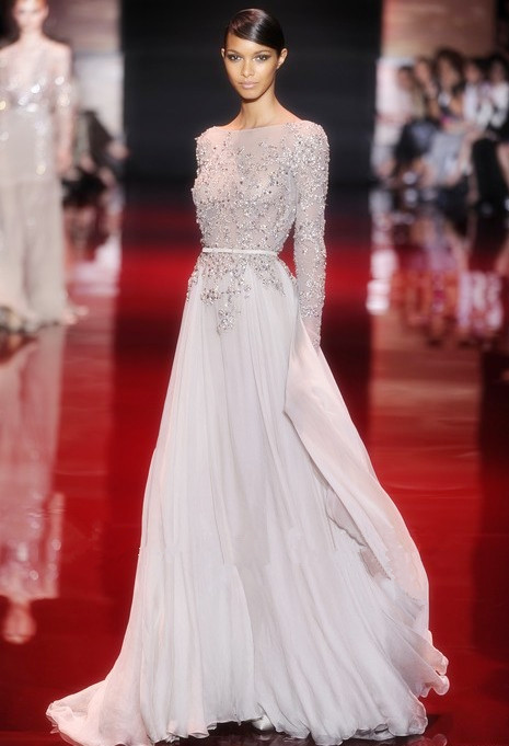 Arrival Elie Saab Lace Appliqued Beaded Long Sleeves Prom Dresses ...
