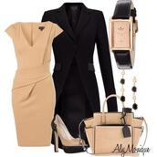 dress,clothes,cap sleeves,wrapped waist,v neck,low v neck,sandy brown,knee length dress,heels,high heels,stilettos,peep toe,peep toe pumps,pumps,jacket,coat,black trench coat,bag,purse,watch,earrings,pleat,outfit,two pictures,beige,aly monique