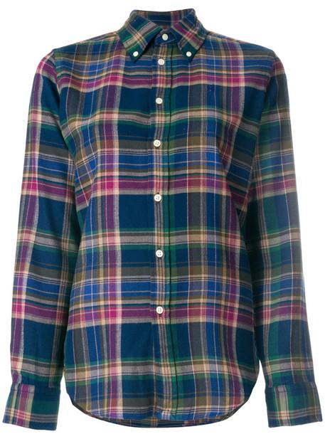 Polo Ralph Lauren - button-down flannel shirt - women - Cotton - XS, Cotton