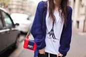 shirt,paris,eiffel tower,white,blue sweater,oversized cardigan,dark blue,sweater