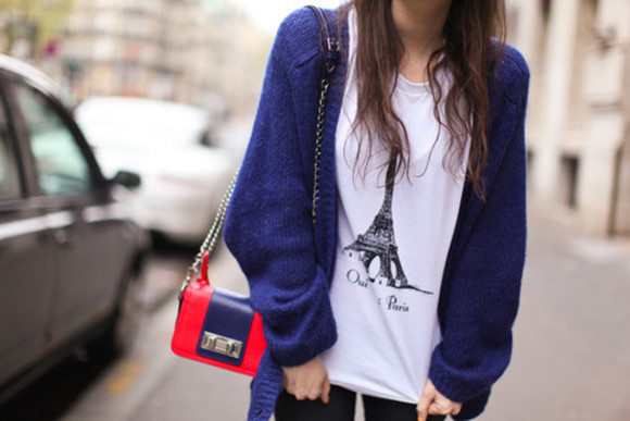 sweater blue sweater shirt paris eiffel tower white oversized cardigan dark blue