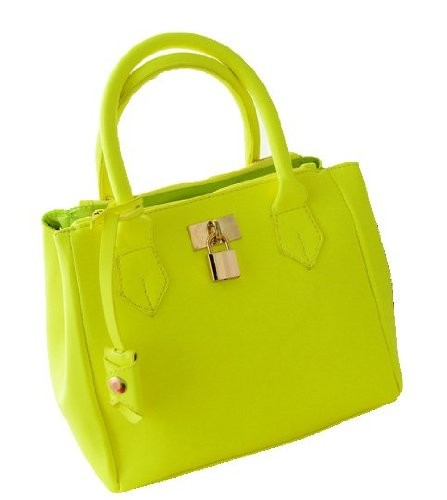 Vintage neon yellow candy color shopper tote handbag top handle summer bag hobo?purse satchel