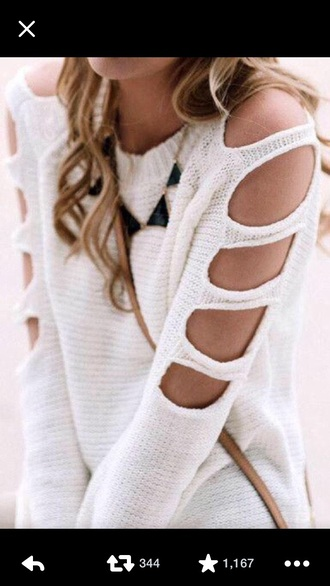 sweater jumper white sweater cut out jewels
