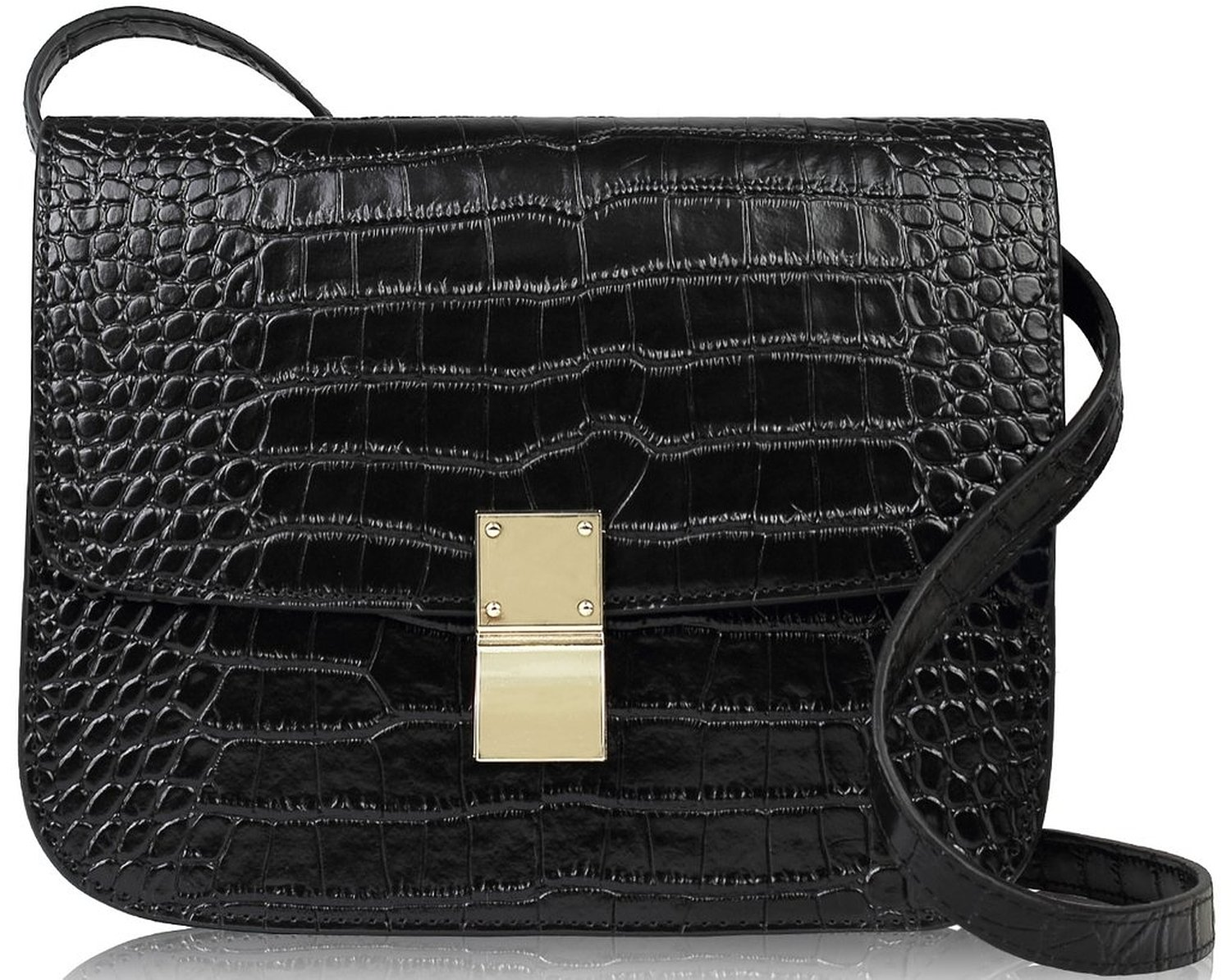 6ce9f33c05b9 Lush Leather Boxy Shoulder Croc Black Bag  Handbags  Amazon.com