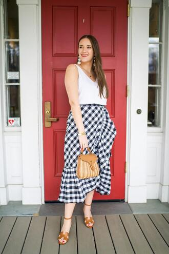 covering bases curvy blogger tank top skirt shoes jewels bag sandals white top spring outfits gingham skirt