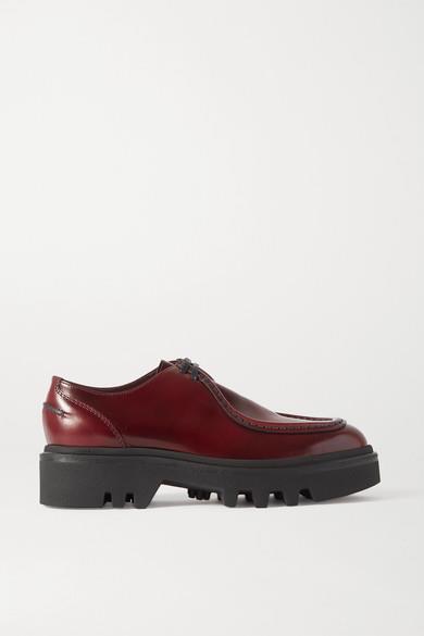 Dries Van Noten - Glossed-leather Platform Brogues - Burgundy - Glossed-leather Platform Brogues
