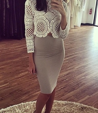 top white grey skirt grey boycon slimfit babdage anazing cute crochet top crop tops crochet grey skirt with sheer black hem skirt