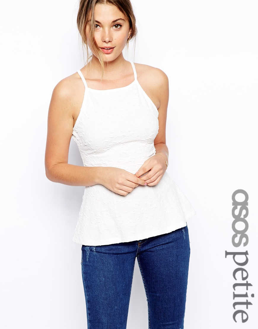 ASOS PETITE Exclusive Strappy Peplum Top In Texture at asos.com