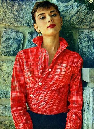 shirt tartan tartan shirt red shirt audrey hepburn actress pretty beautiful red lipstick hoop earrings earrings brunette retro