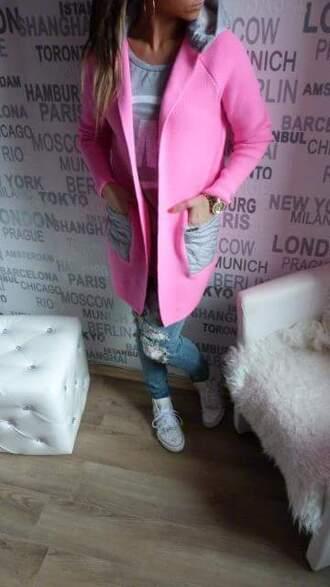 jacket pink grey jacket spring jacket fashionable jacket
