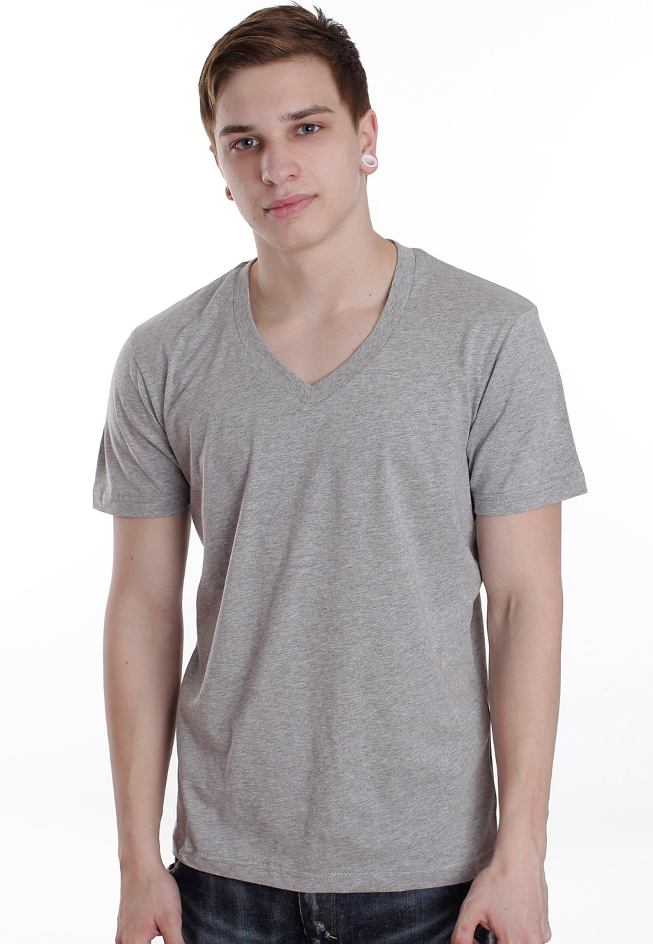 Urban Classics - Basic Grey - V Neck T-Shirt - Streetwear Online Shop - Online Shop - Impericon.com