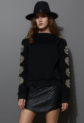 sweater floral crystal embellished sleeves sweat top