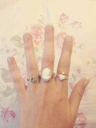 gold jewels ring cameo ring heart ring