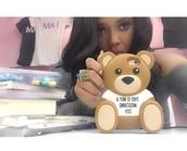 earphones,phone cover,Angela Simmons,cute,giant teddy bear,moschino
