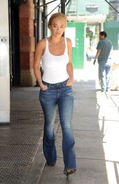 top,denim,flare jeans,bodysuit,white top,white,rita ora,tank top,streetstyle