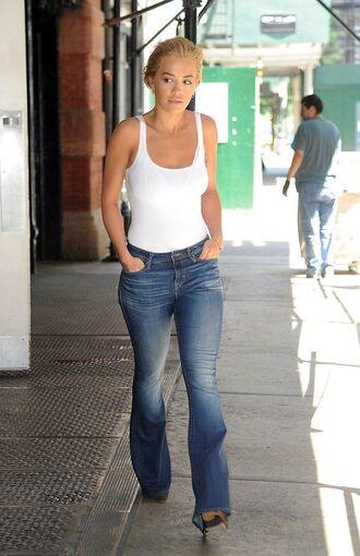 top denim flare jeans bodysuit white top white rita ora tank top streetstyle