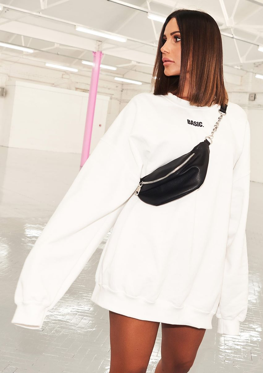 Ariana White Basic Slogan Oversized Sweatshirt
