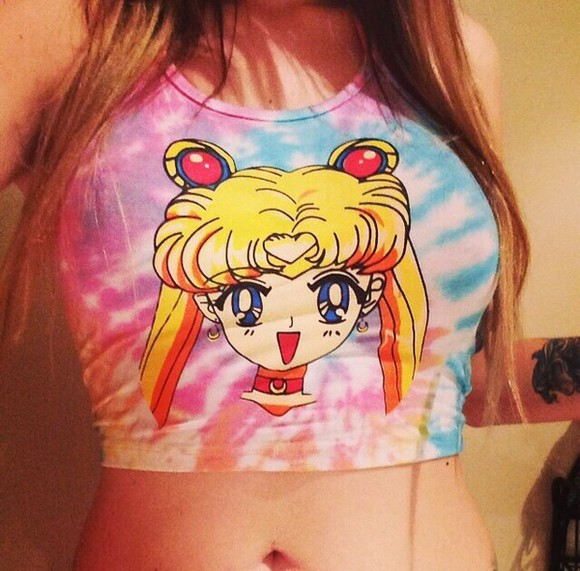 shirt t-shirt tie-dye tie dye crop tops tie dye top multi colored summer shirt dresses anime shirt anime hipster cute outfits grunge 90s style sailor moon sailor moon shirt