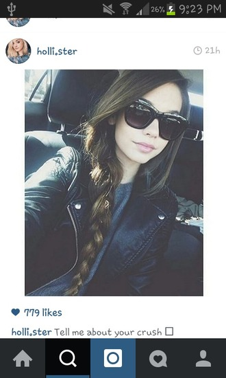 jacket leather jacket sunglasses braid