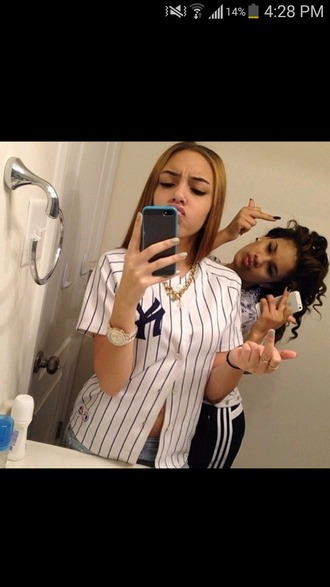shirt jersey yankees jersey top white new york city jewels iphone yankees stripes dope
