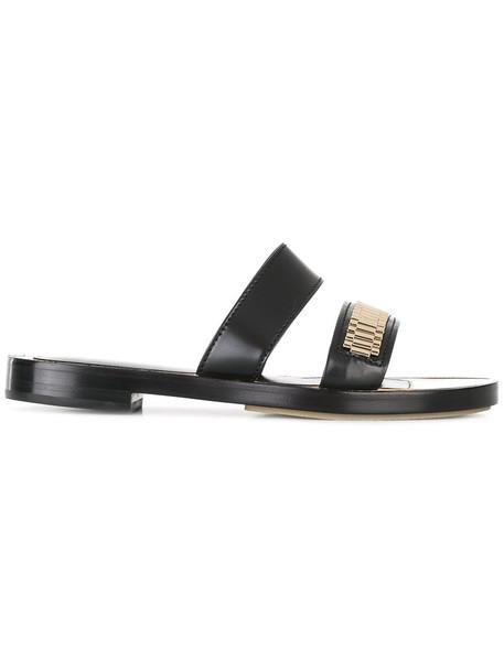lanvin women sandals leather black shoes