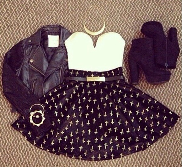 skirt black skater skirt white crosses