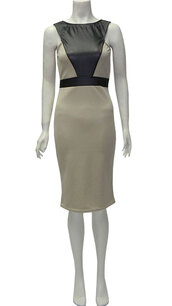 dress,womens leather look sleeveless midi dress with back zip fastening  beige