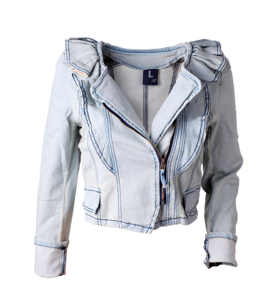 Lovely Light Blue Flouncing Denim Jacket Long Sleeve Vintage Jeans ...