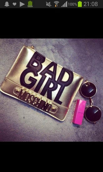 bag bad girls club moschino belt moschino bag gold gold bag moschino sunglasses
