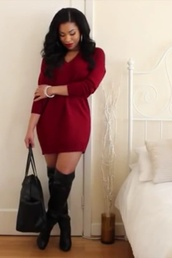 red dress,red,high heels,boots,leather,oversized sweater,dress,purse,bag,cocktail dress,sexy dress,clothes,oversized,oversized t-shirt