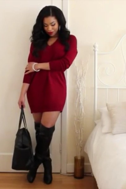 Dress: red dress, red, high heels, boots, leather, oversized ...