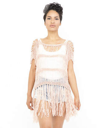 top tunic fringes fringed tunic dusty pink top dusty pink