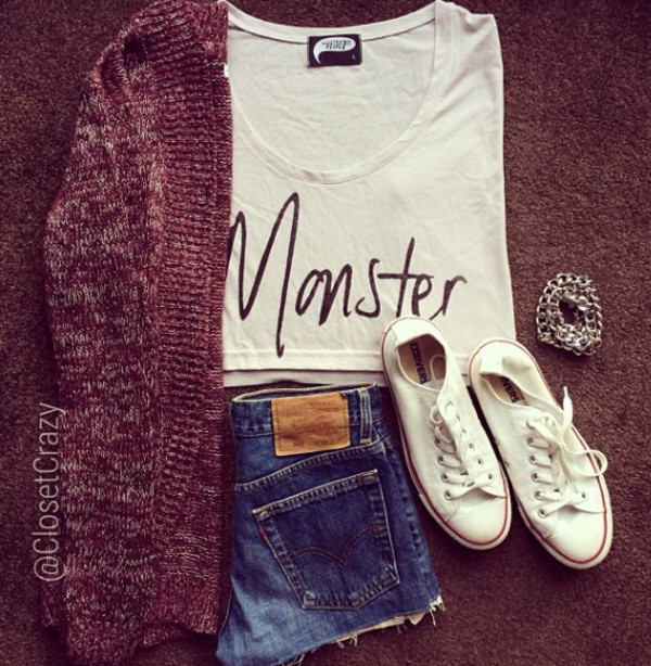 shirt cardigan shorts converse white monster black and white crop tops top sweater red chain