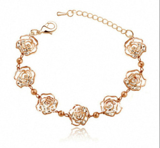 jewels gold roses acsessories bracelets girly cute vintage rose flowers floral