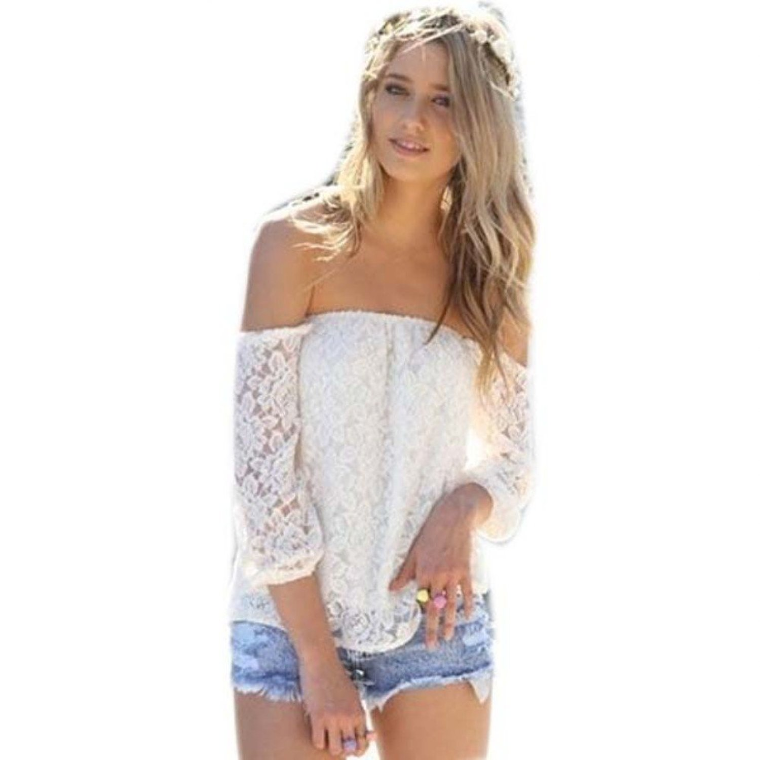 White t shirt for womens - Froomer Sexy Womens Hollow Lace Crochet Tops Off Shoulder Crop T Shirts Blouses At Amazon Women S Clothing
