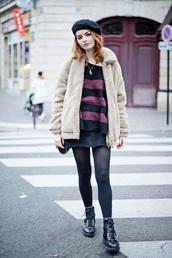 coat,tumblr,teddy bear coat,fuzzy jacket,sweater,stripes,striped sweater,skirt,mini skirt,denim,denim skirt,tights,opaque tights,boots,black boots