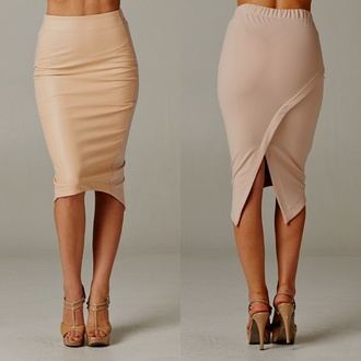 skirt pencil skirt asymmetrical skirt nude